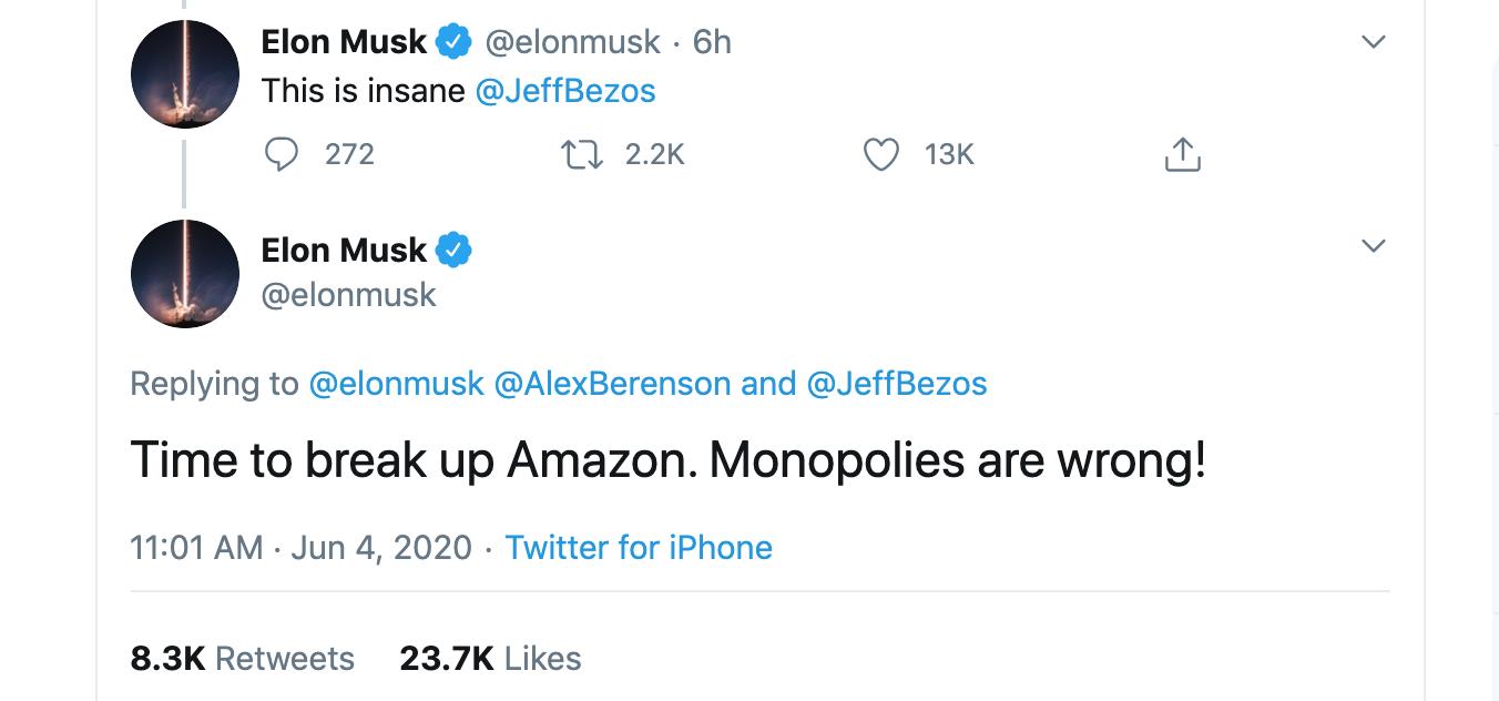 """Elon Musk kêu gọi """"giải tán"""" Amazon"""