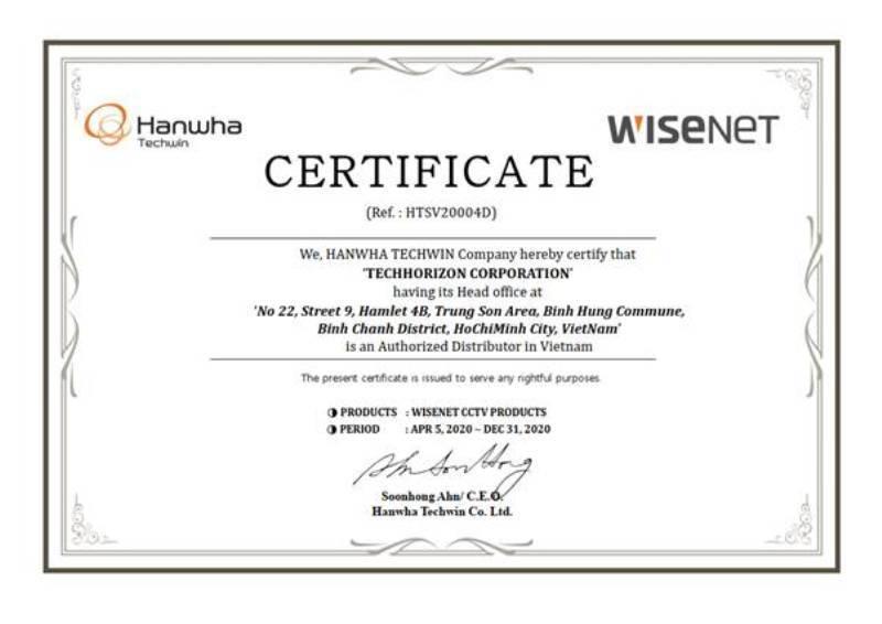 Tech Horizon chính thức phân phối sản phẩm Camera Hanwha Techwin