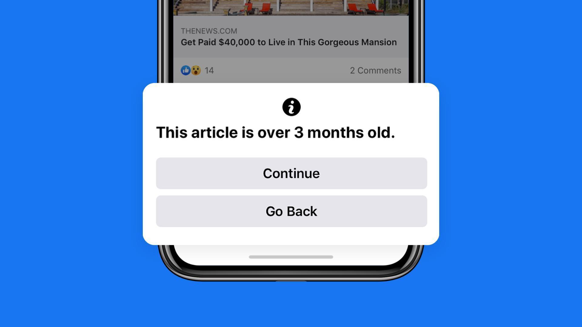 Facebook cảnh báo khi người dùng chia sẻ tin cũ