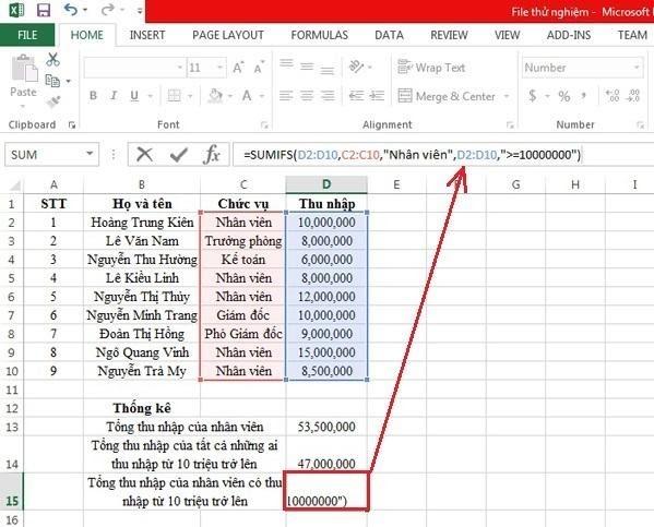 Hướng dẫn sử dụng hàm SUMIF trong Excel