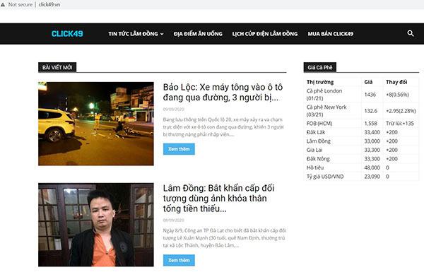 Sở TT&TT Lâm Đồng phạt 85 triệu đồng với chủ sở hữu các trang click49.net, bao.click49.net
