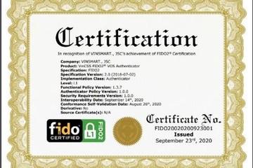 Hệ điều hành VOS của Vinsmart đạt chuẩn FIDO, hỗ trợ xác thực mạnh không cần mật khẩu