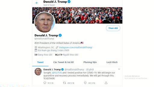 Twitter cấm đăng bài viết mong muốn Tổng thống Trump chết vì Covid-19