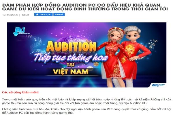VTC Game không đóng cửa Audition PC tại thị trường Việt Nam sau 31/10