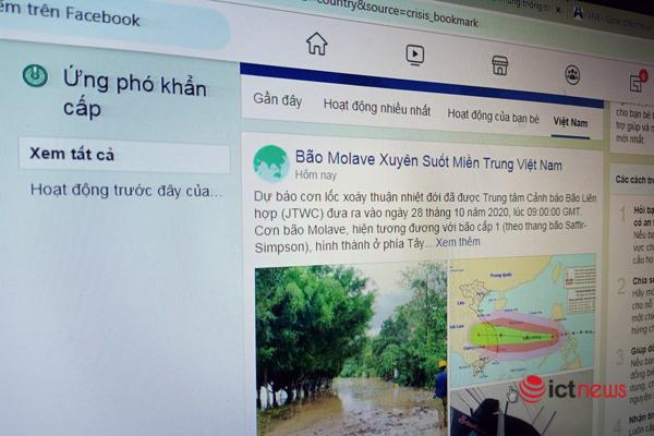 Bão Molave xuất hiện trong mục Ứng phó khẩn cấp của Facebook
