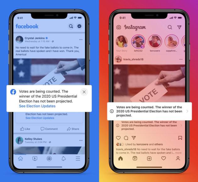 Facebook cảnh báo các nội dung tuyên bố thắng cử T.T. Mỹ trước khi kết thúc kiểm phiếu