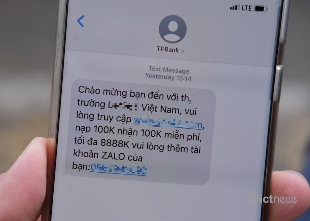 Giả mạo TPBank nhắn tin quảng bá cá cược