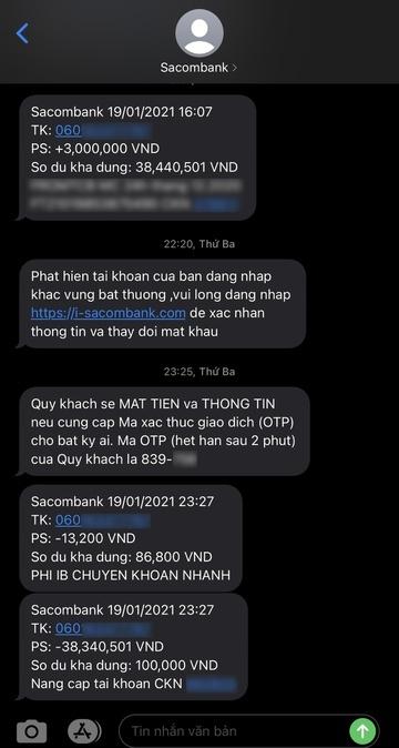 tin nhắn giả mạo,lừa chuyển tiền,facebook,sacombank,tpbank