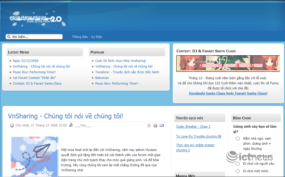 The interface of websites and forums is 'resounding for a while' in Vietnam