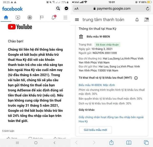 YouTuber Việt Nam xôn xao về thông báo khấu lưu thuế 30% từ Google