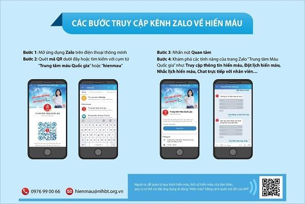 Dùng Zalo chatbot trong công tác hiến máu và chăm sóc người hiến máu