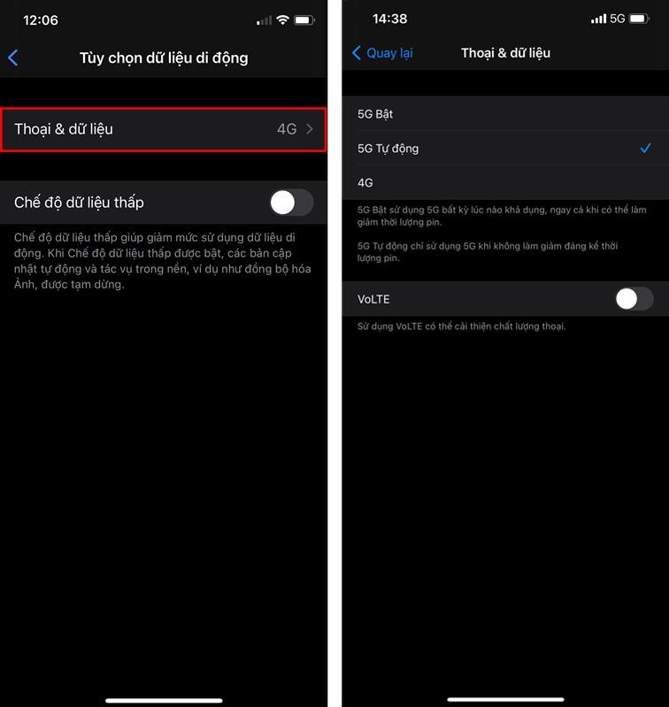 Cách bật 5G trên iPhone 12
