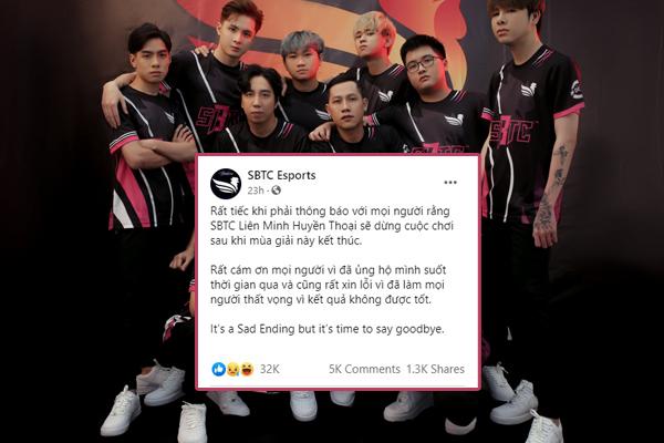 SBTC Esports tan rã, đoạn kết buồn cho dàn sao Việt