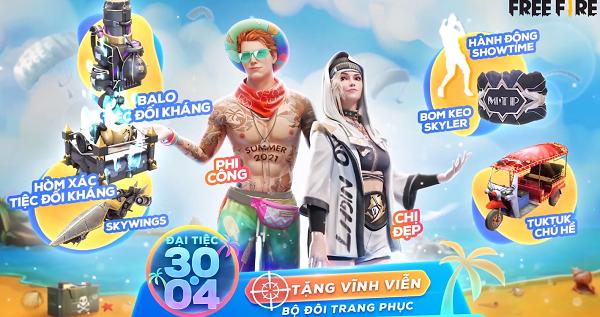 """Những món quà cực khủng game thủ sẽ nhận tại sự kiện 30/4, hé lộ 2 mỹ nam tranh đoạt """"Nam Vương Free Fire"""""""