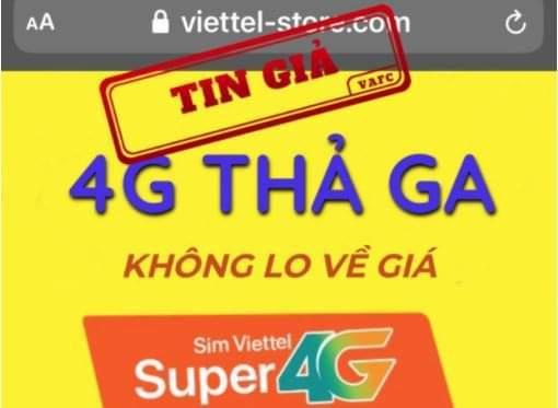 Giả mạo website của Viettel để rao bán SIM 4G