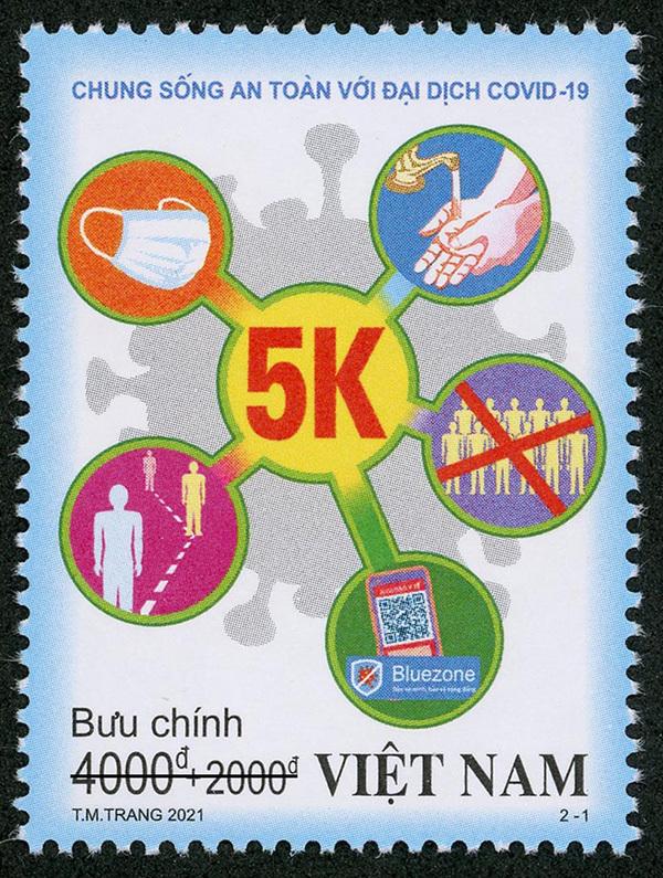 """Bộ TT&TT phát hành bộ tem """"Chung sống an toàn với đại dịch Covid-19"""""""