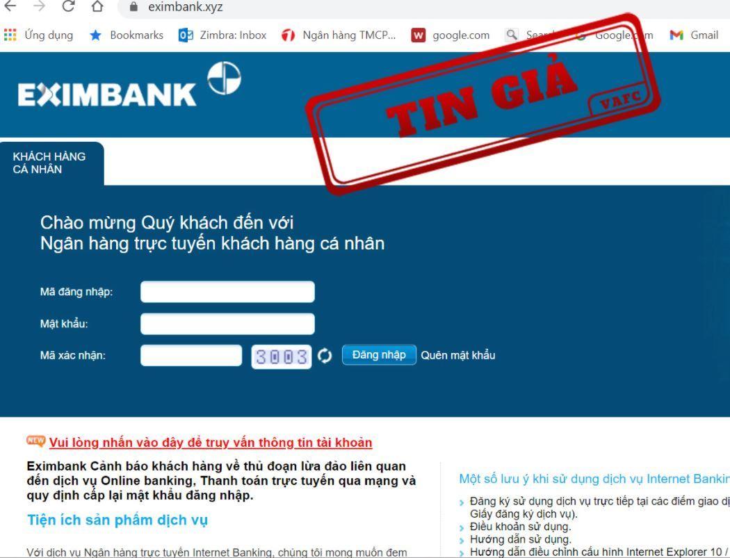 giả mạo ngân hàng,tin giả,website giả mạo