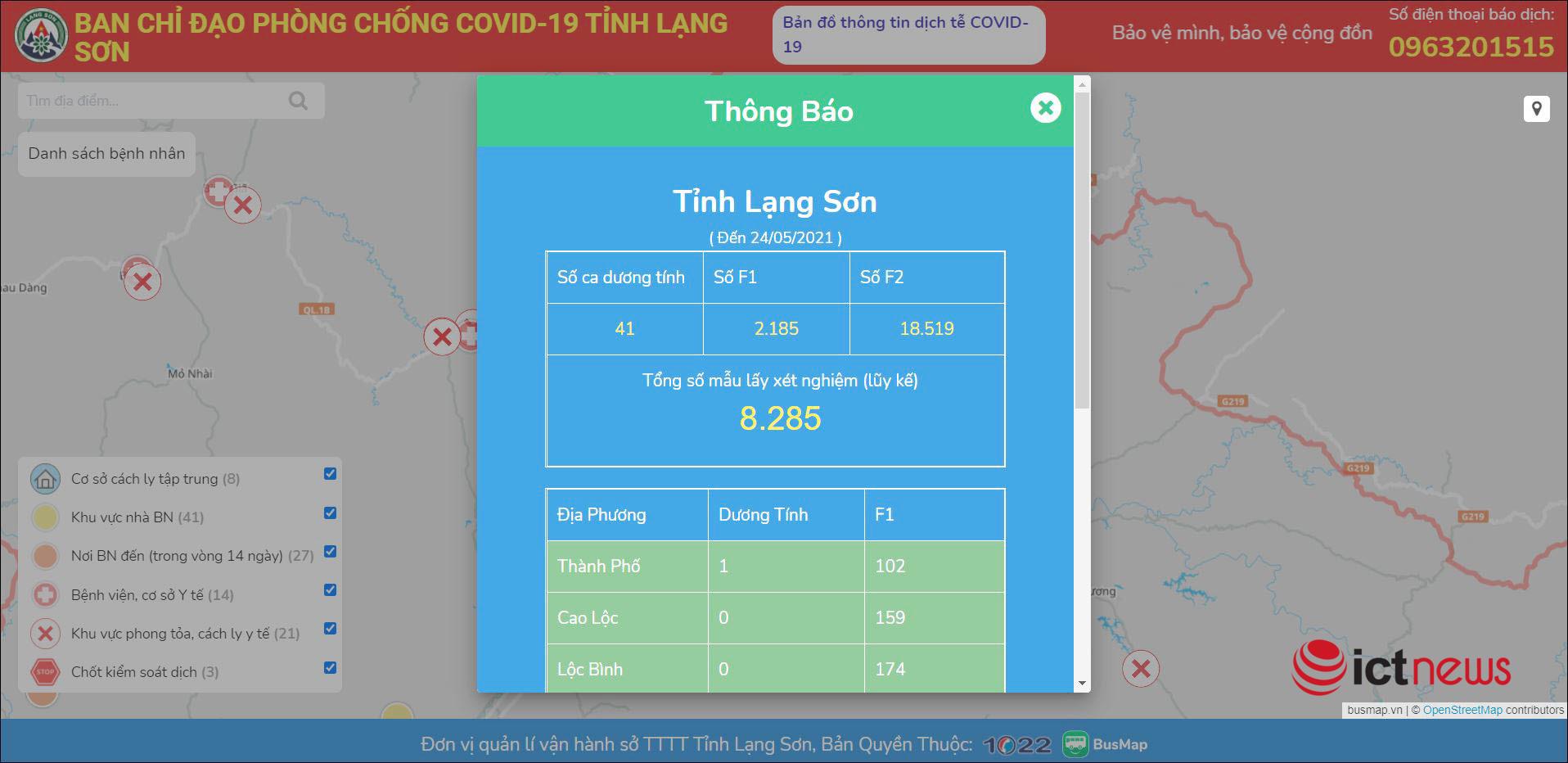 Lạng Sơn ra mắt bản đồ Covid-19 cập nhật tình hình dịch theo thời gian thực