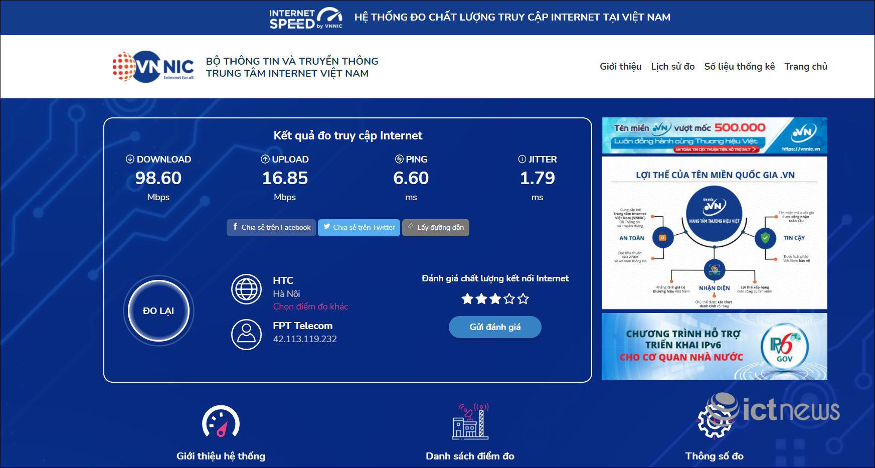 Ứng dụng đo tốc độ Internet Việt Nam i-Speed đã có hơn 17.000 lượt cài đặt