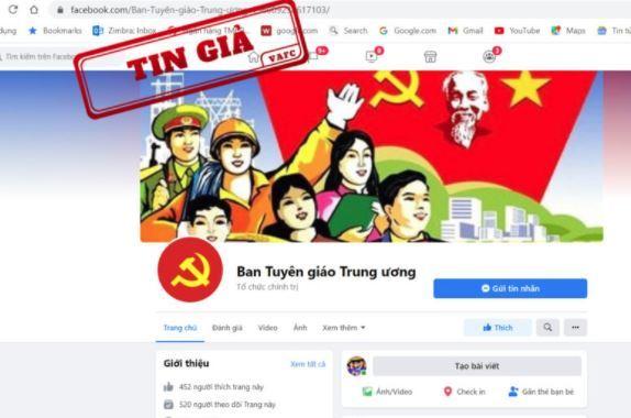 Lập Fanpage mạo danh Ban Tuyên giáo Trung ương, đưa thông tin không tin cậy