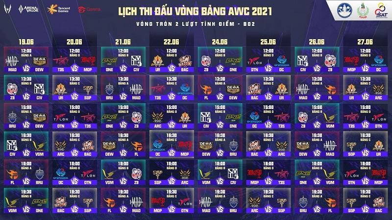 Lịch thi đấu giải Liên Quân Mobile thế giới Arena of Valor World Cup (AWC) 2021, khởi tranh từ ngày 19/6