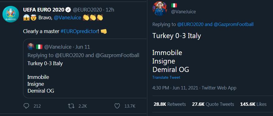 Xuất hiện 'thánh' dự đoán chính xác tuyệt đối trận mở màn Euro 2020