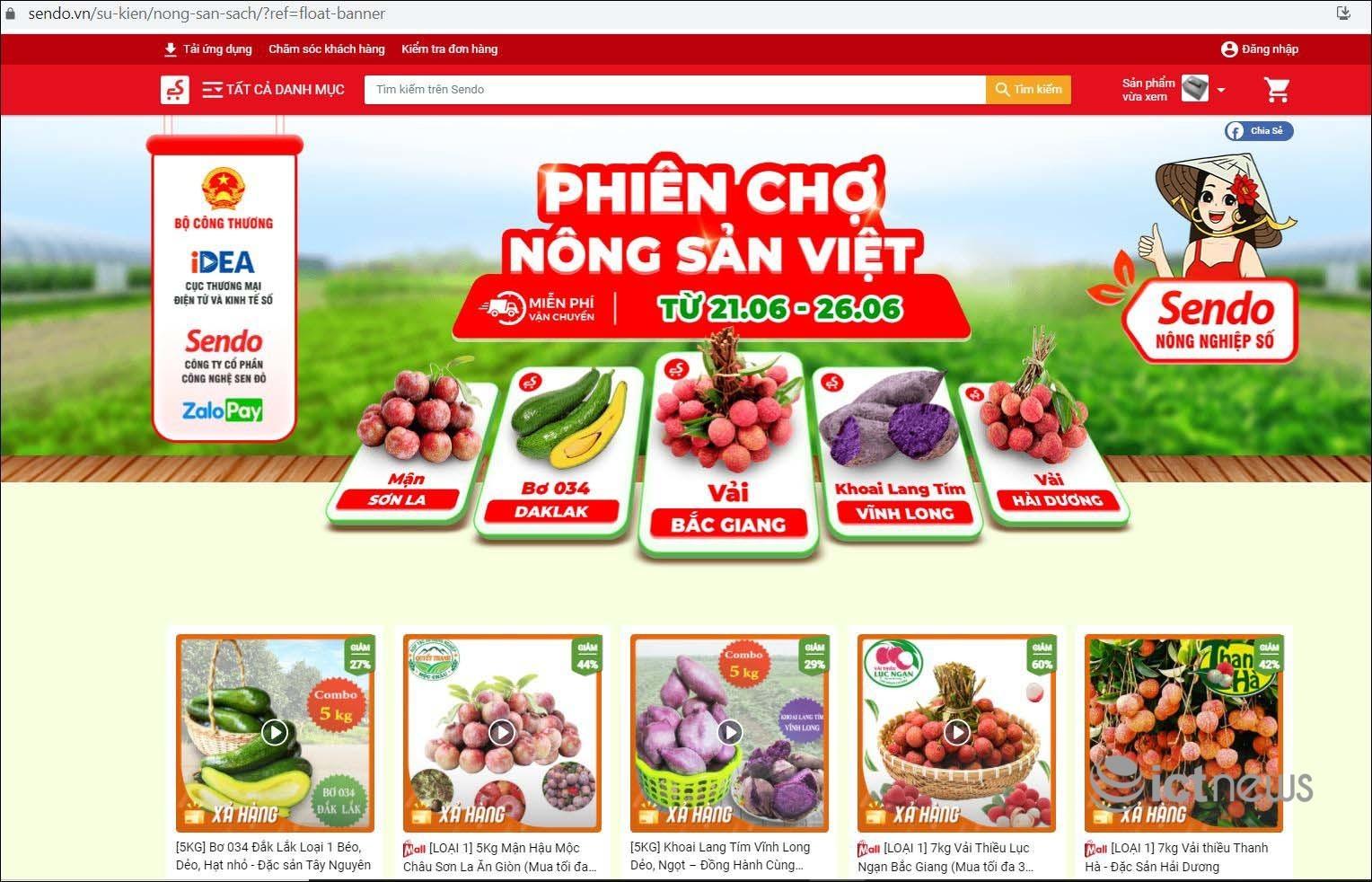 """Nông dân 5 tỉnh mang đặc sản lên bán tại """"Phiên chợ nông sản Việt trực tuyến"""""""