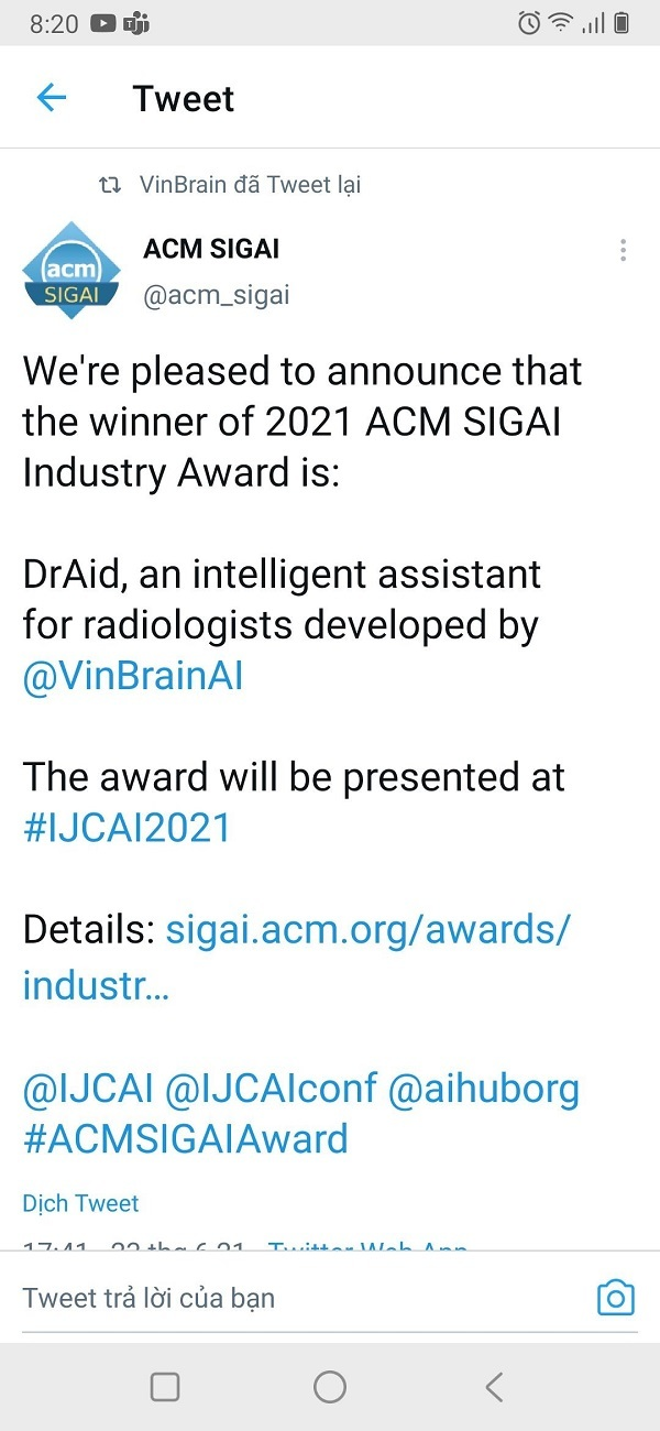 """VinBrain giành giải thưởng Quốc tế """"Công nghiệp ACM SIGAI 2021 cho sản phẩm trí tuệ nhân tạo xuất sắc nhất"""""""
