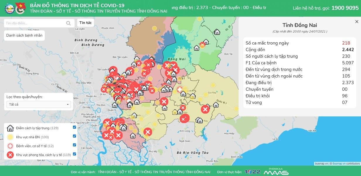 Xem bản đồ dịch tễ Covid-19 của Đồng Nai ở đâu?