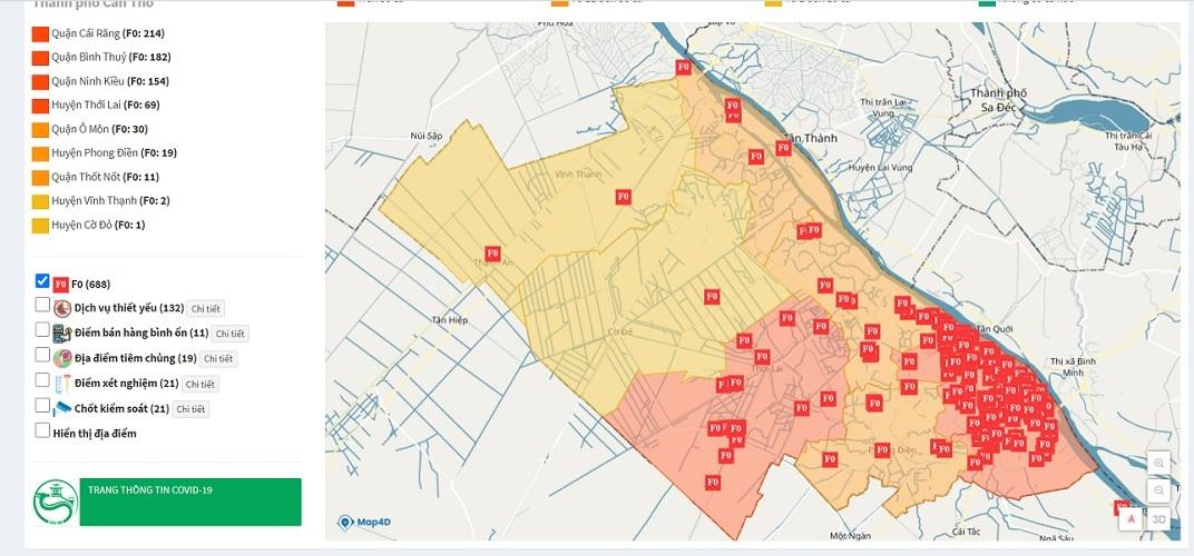 Xem bản đồ dịch tễ Covid-19 của Cần Thơ ở đâu?