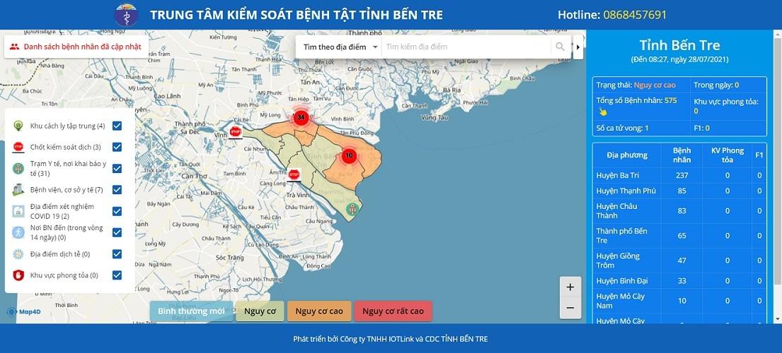 Xem bản đồ dịch tễ Covid-19 của Bến Tre ở đâu?