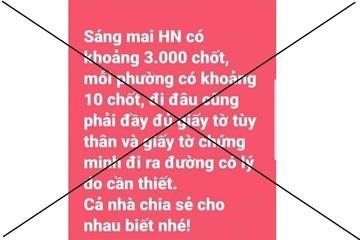 """Tung tin Hà Nội """"có khoảng 3.000 chốt"""", 1 phụ nữ bị phạt 12.5 triệu đồng"""