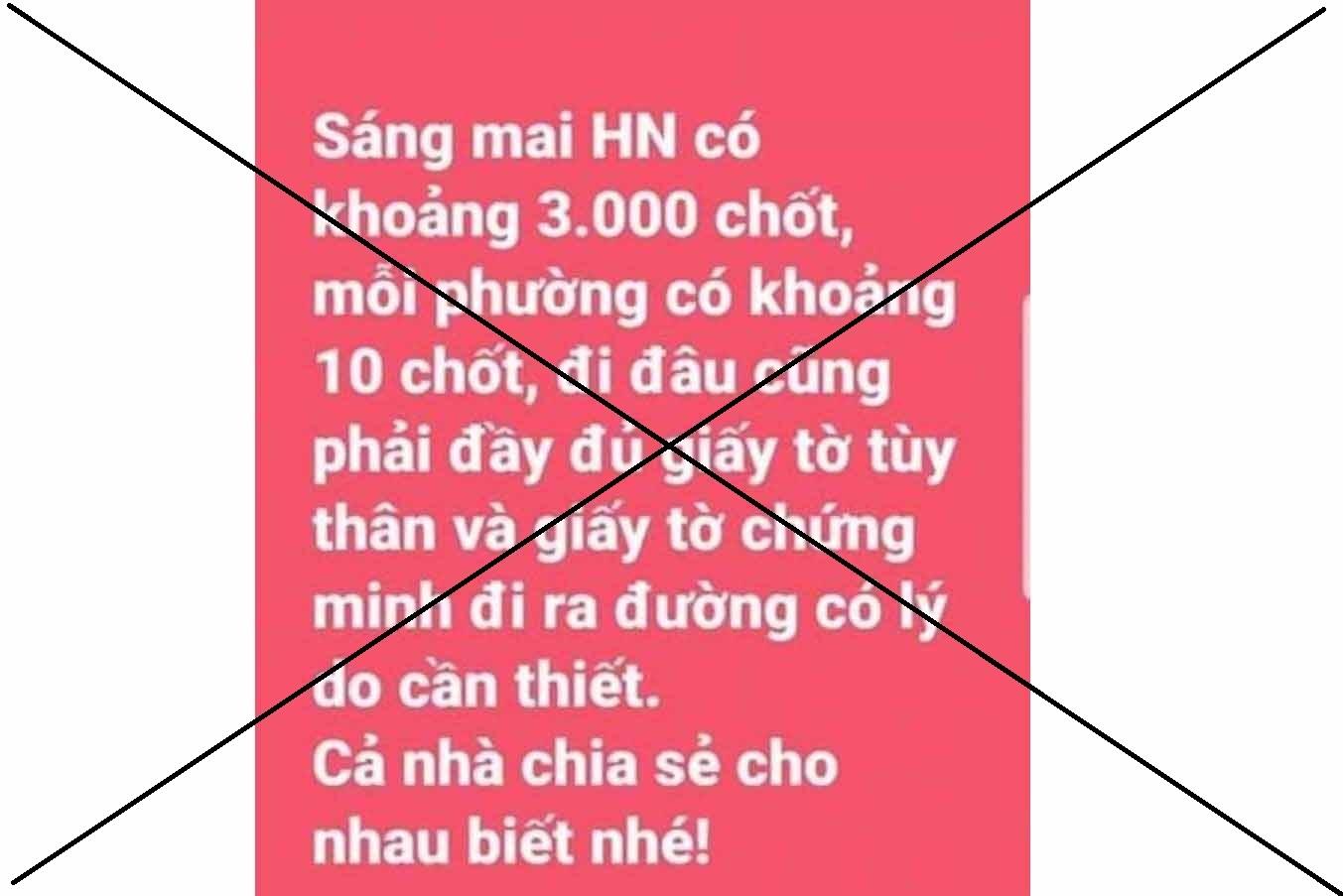 Tung tin Hà Nội 'có khoảng 3.000 chốt', 1 phụ nữ bị phạt 12.5 triệu đồng
