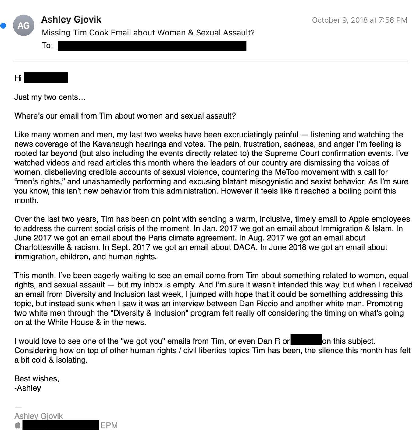 Apple cho nữ quản lý nghỉ vô thời hạn vì phàn nàn về môi trường làm việc