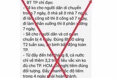 """TP.HCM: """"Không cho người dân di chuyển trong 7 ngày"""" là tin giả"""