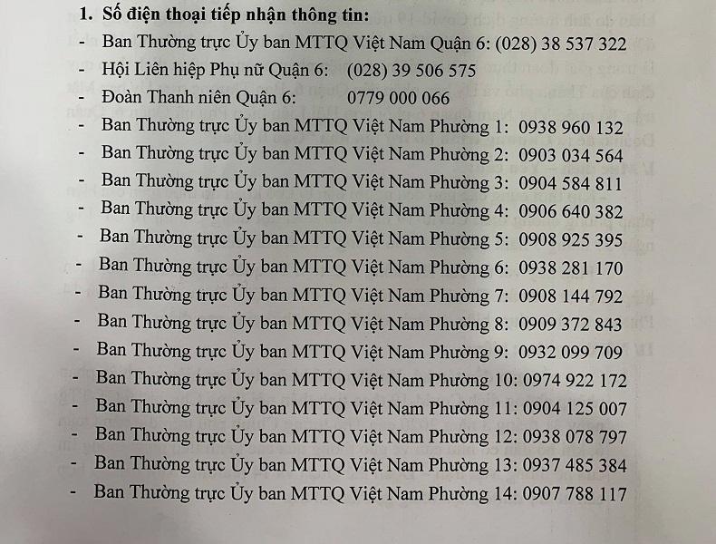Danh sách số điện thoại hỗ trợ nhu yếu phẩm của Quận 6 TP.HCM