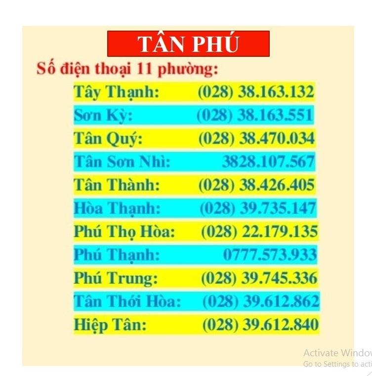 Danh sách số điện thoại hỗ trợ nhu yếu phẩm của quận Tân Phú TP.HCM