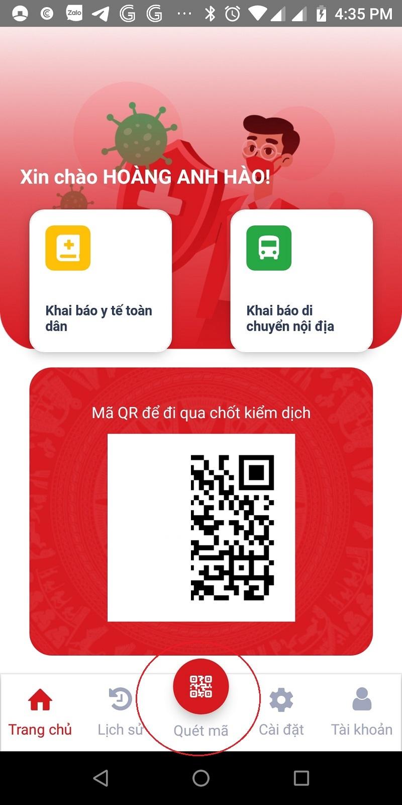 Hướng dẫn khai báo di chuyển nội địa trên app VNEID
