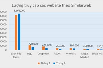 Top 5 sàn thương mại điện tử đình đám Việt Nam gọi tên Bách hóa Xanh: gấp 60 lần tên tuổi cùng ngành
